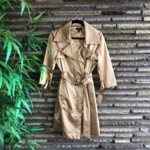 bebe Metallic Gold Trench Coat Rain Jacket